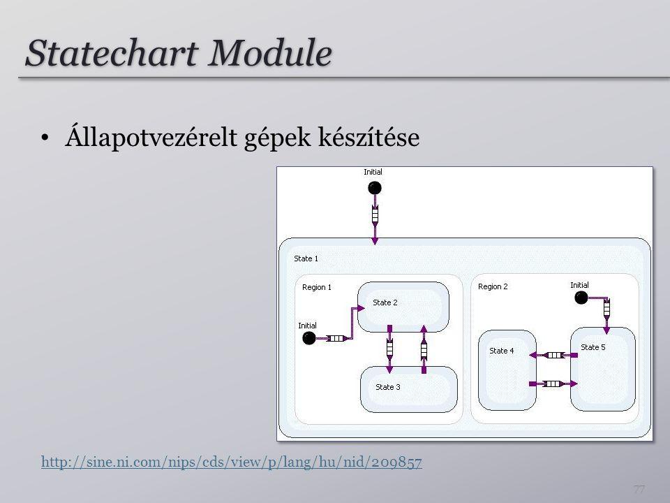 Statechart Module Állapotvezérelt gépek készítése