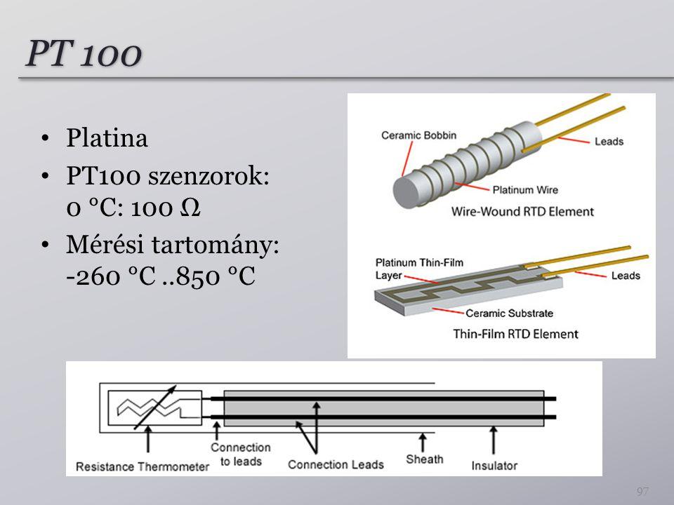 PT 100 Platina PT100 szenzorok: 0 °C: 100 Ω