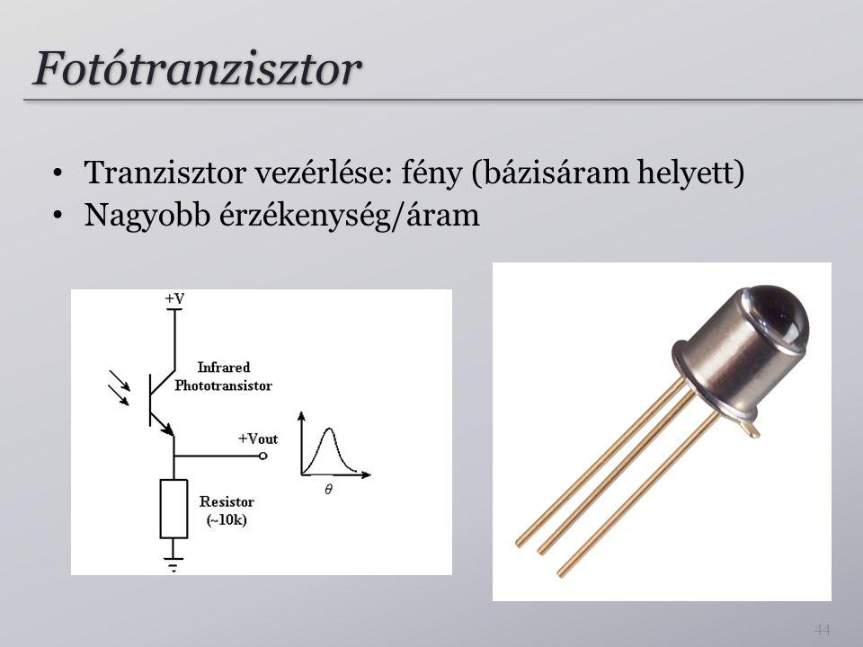Fotótranzisztor Tranzisztor vezérlése: fény (bázisáram helyett)