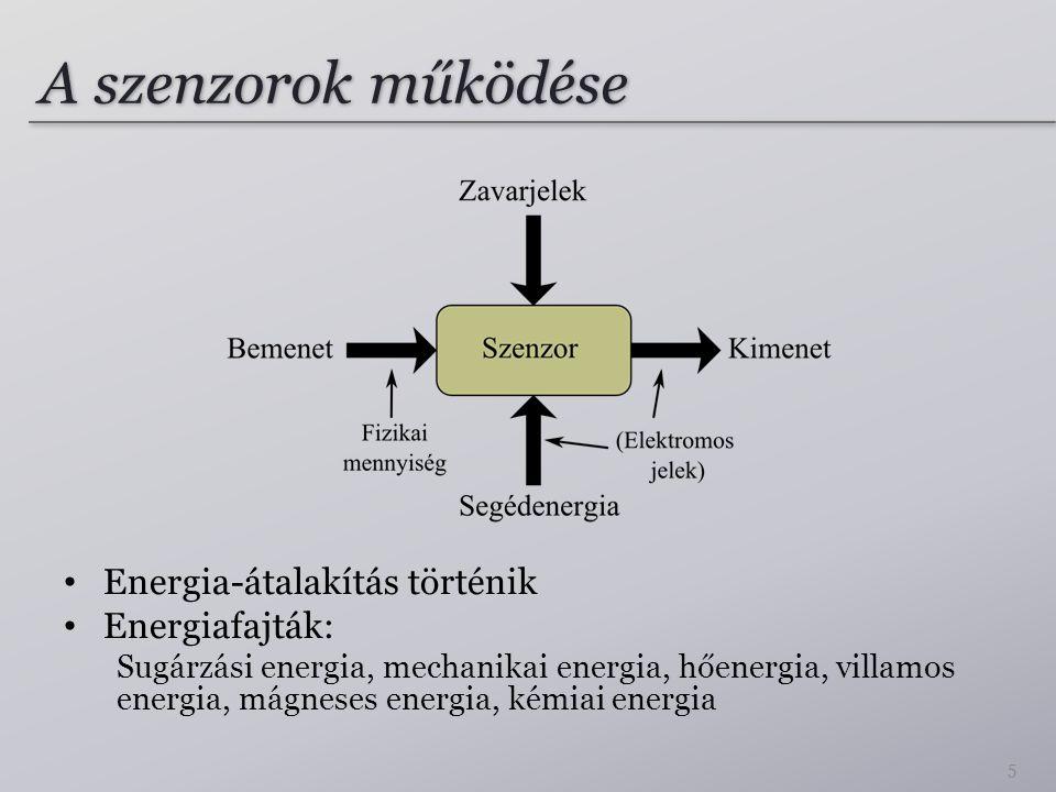 A szenzorok működése Energia-átalakítás történik Energiafajták: