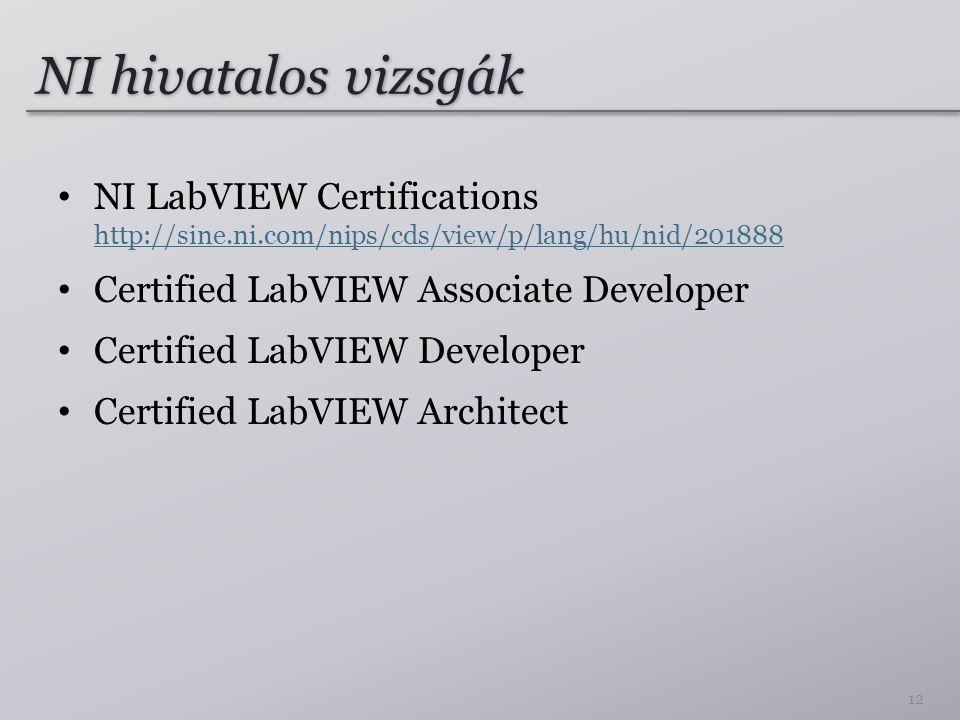 NI hivatalos vizsgák NI LabVIEW Certifications http://sine.ni.com/nips/cds/view/p/lang/hu/nid/201888.