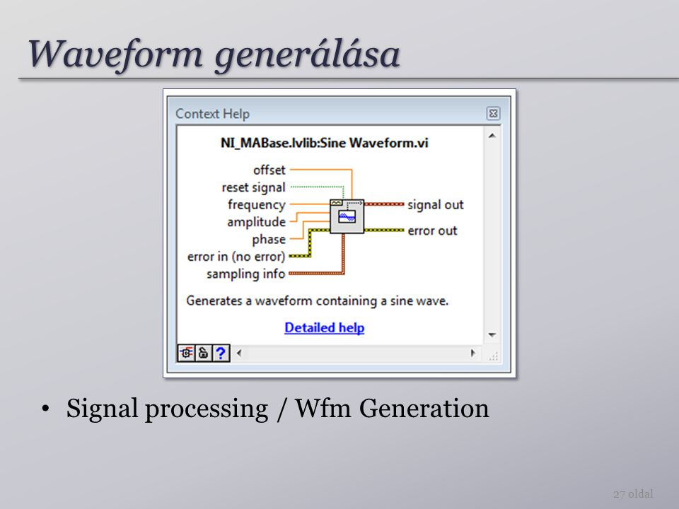 Waveform generálása Signal processing / Wfm Generation