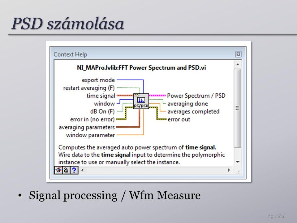 PSD számolása Signal processing / Wfm Measure