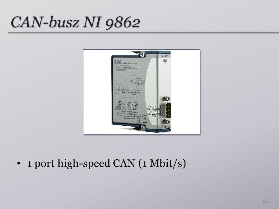 CAN-busz NI 9862 1 port high-speed CAN (1 Mbit/s)