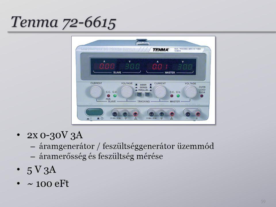 Tenma 72-6615 2x 0-30V 3A. áramgenerátor / feszültséggenerátor üzemmód. áramerősség és feszültség mérése.