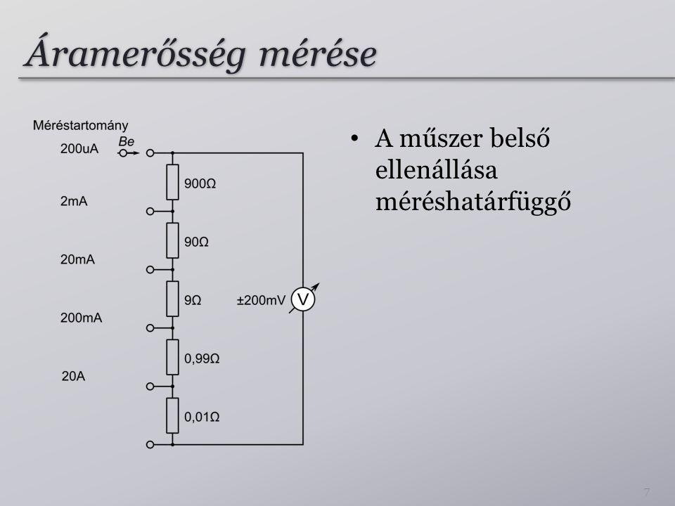 Áramerősség mérése A műszer belső ellenállása méréshatárfüggő