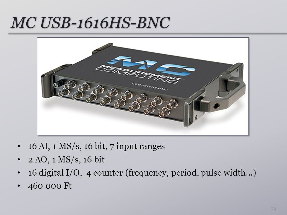 MC USB-1616HS-BNC 16 AI, 1 MS/s, 16 bit, 7 input ranges