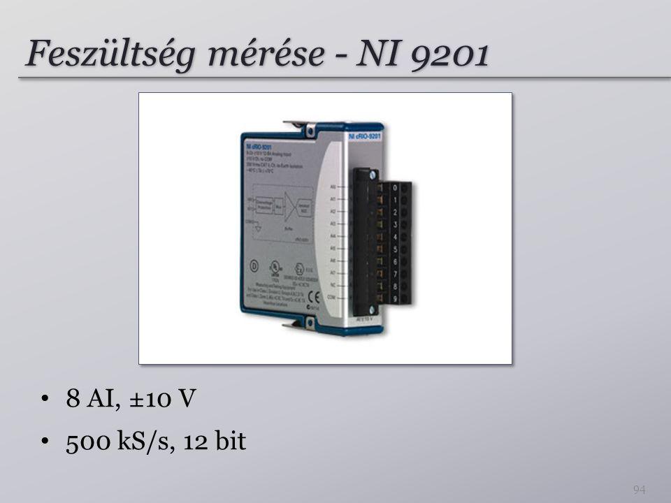Feszültség mérése - NI 9201 8 AI, ±10 V 500 kS/s, 12 bit