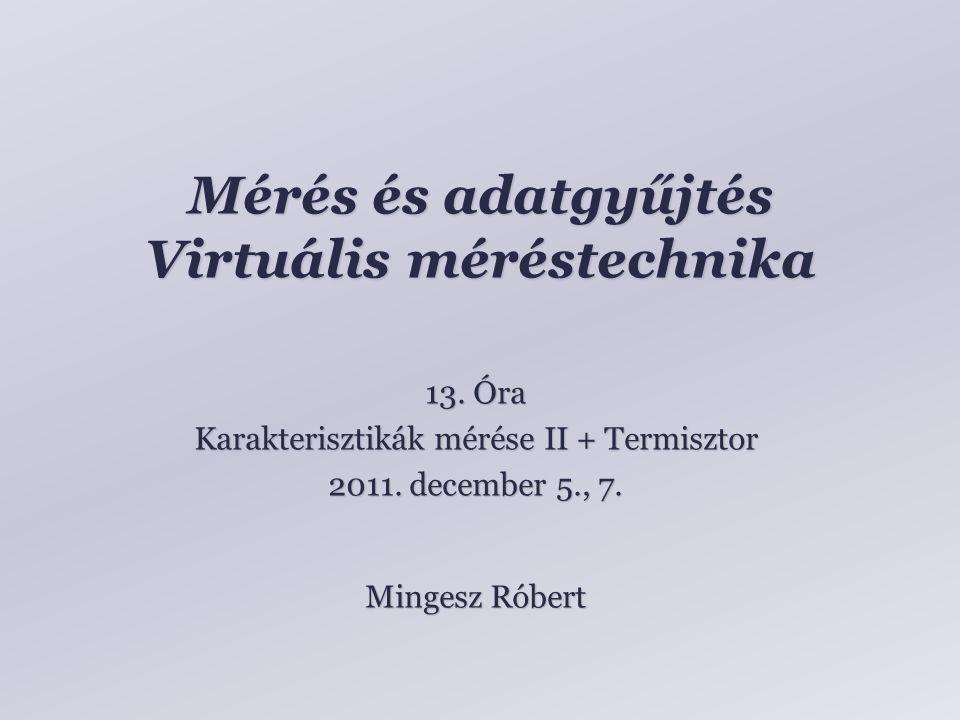 Mérés és adatgyűjtés Virtuális méréstechnika
