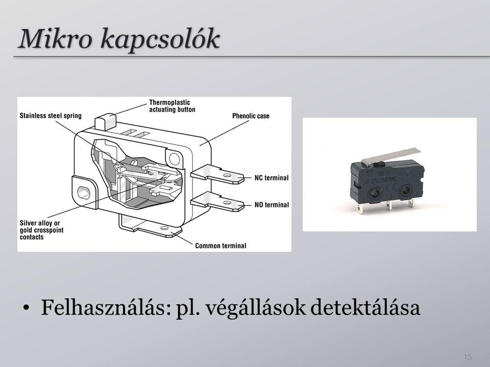 Mikro kapcsolók Felhasználás: pl. végállások detektálása