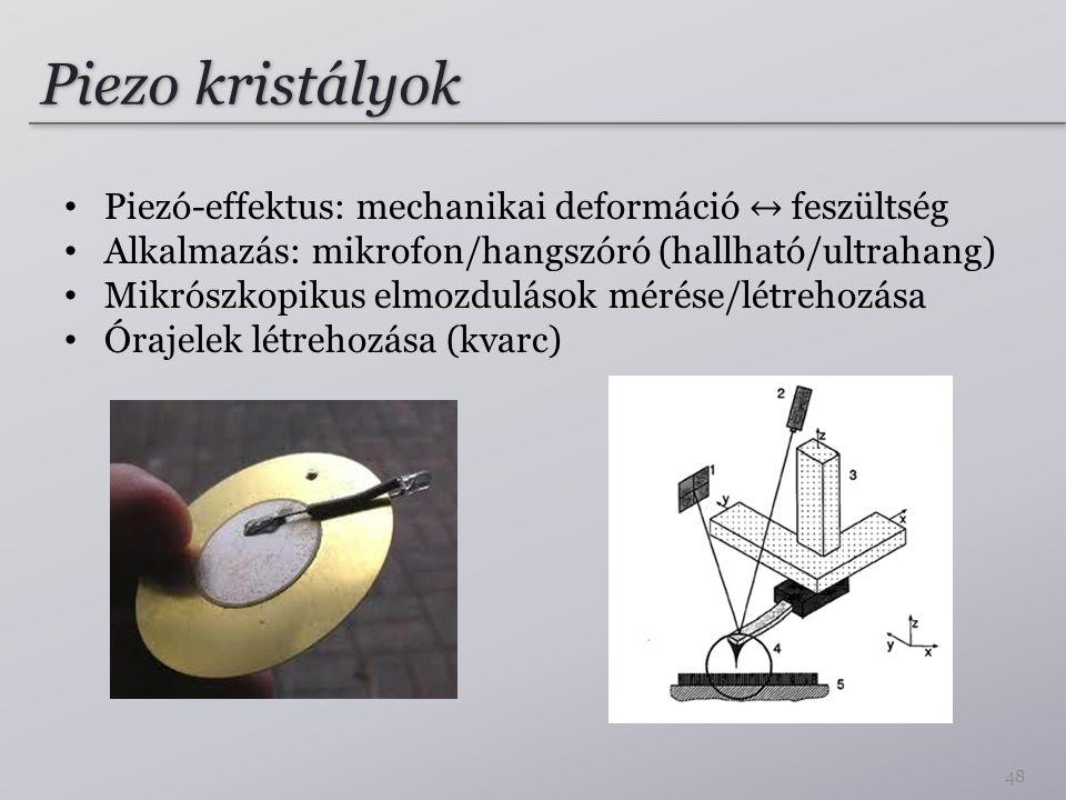 Piezo kristályok Piezó-effektus: mechanikai deformáció ↔ feszültség