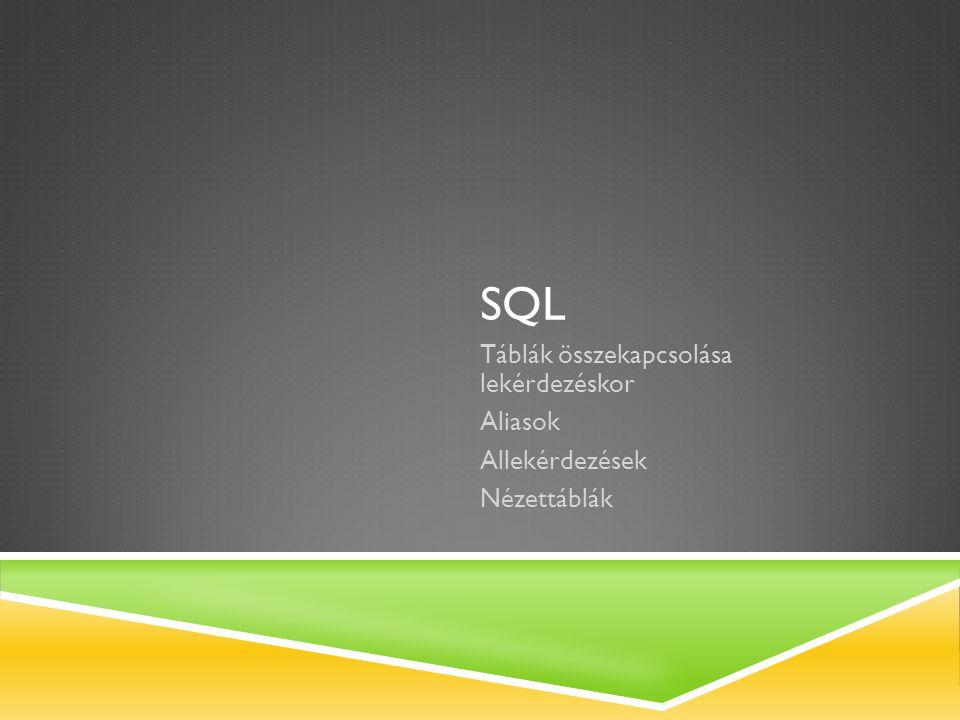 SQL Táblák összekapcsolása lekérdezéskor Aliasok Allekérdezések