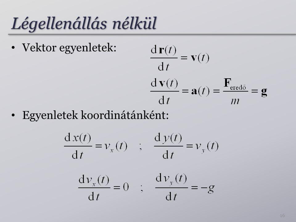 Légellenállás nélkül Vektor egyenletek: Egyenletek koordinátánként: