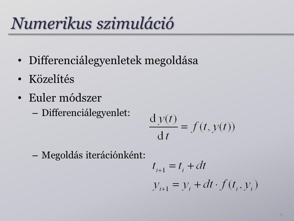 Numerikus szimuláció Differenciálegyenletek megoldása Közelítés