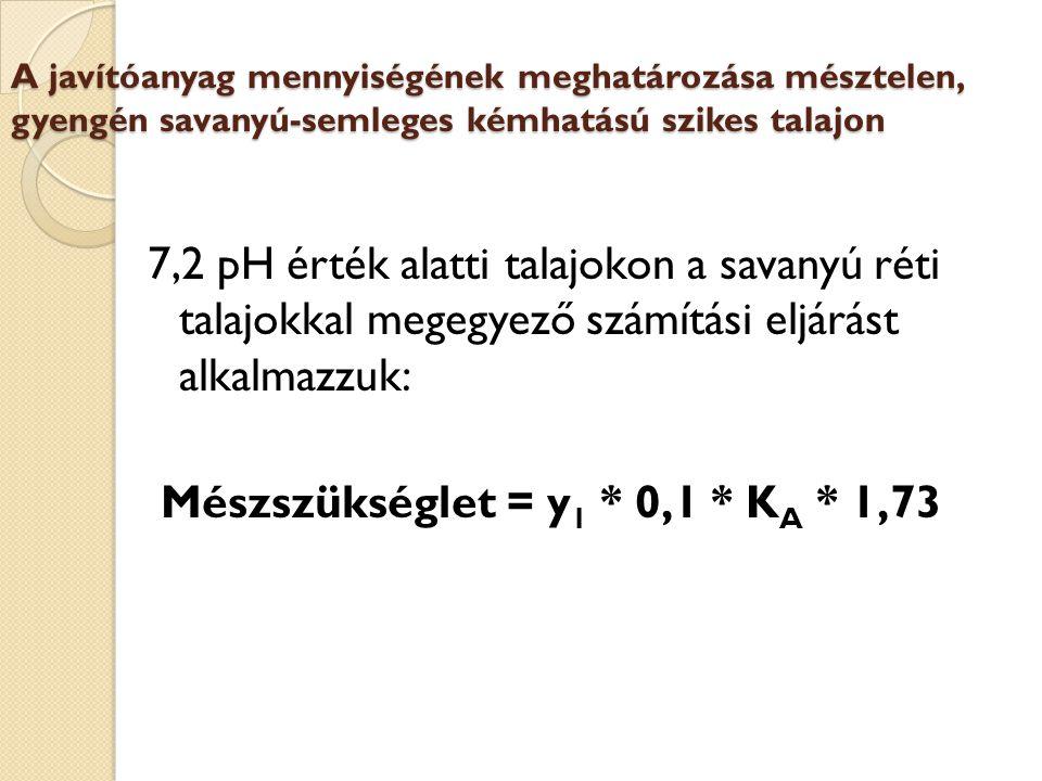 Mészszükséglet = y1 * 0,1 * KA * 1,73
