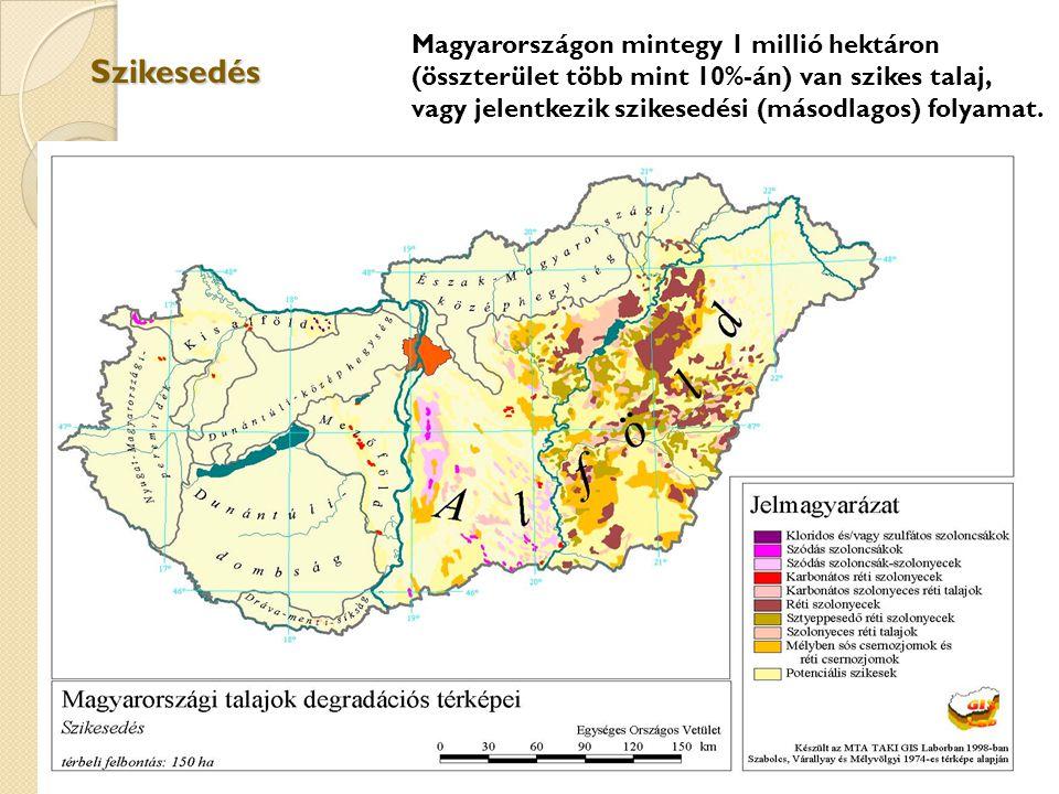 Szikesedés Magyarországon mintegy 1 millió hektáron