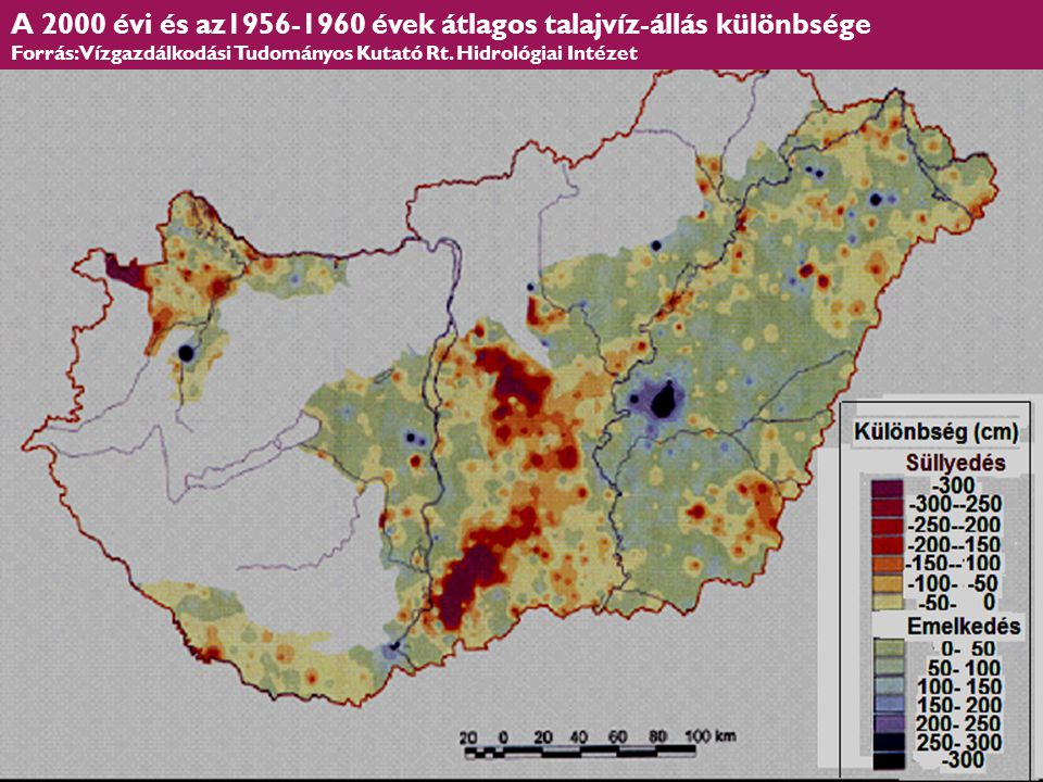 A 2000 évi és az1956-1960 évek átlagos talajvíz-állás különbsége Forrás: Vízgazdálkodási Tudományos Kutató Rt. Hidrológiai Intézet