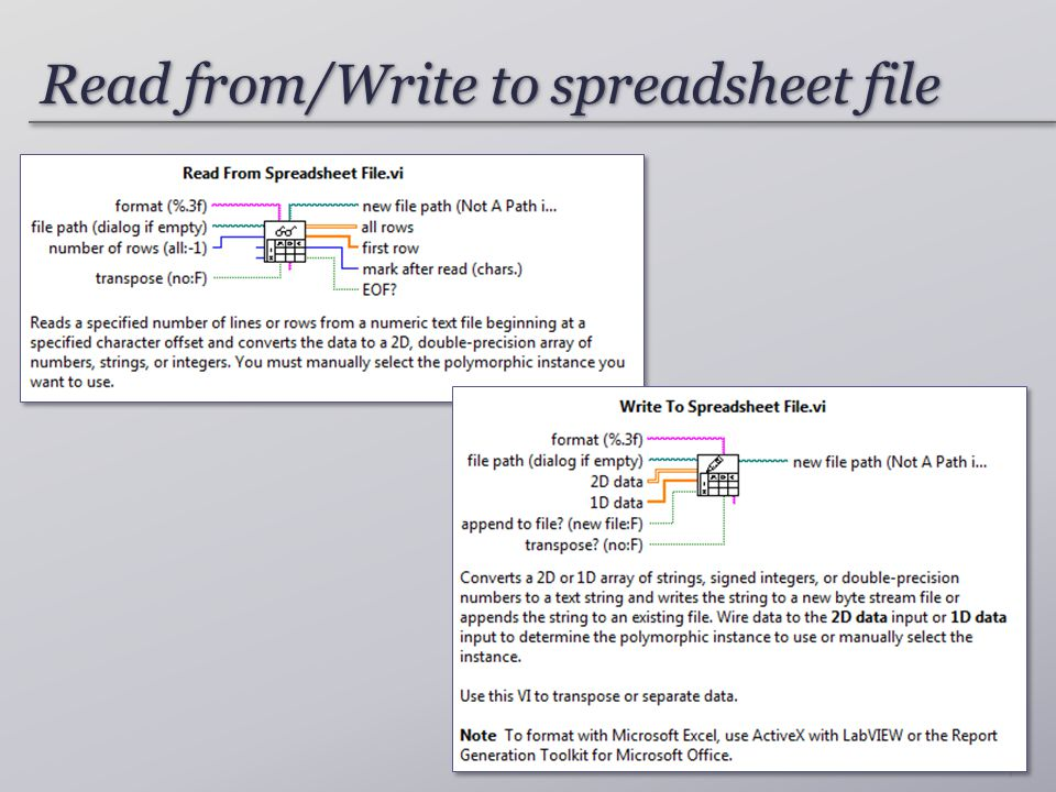 Read from/Write to spreadsheet file