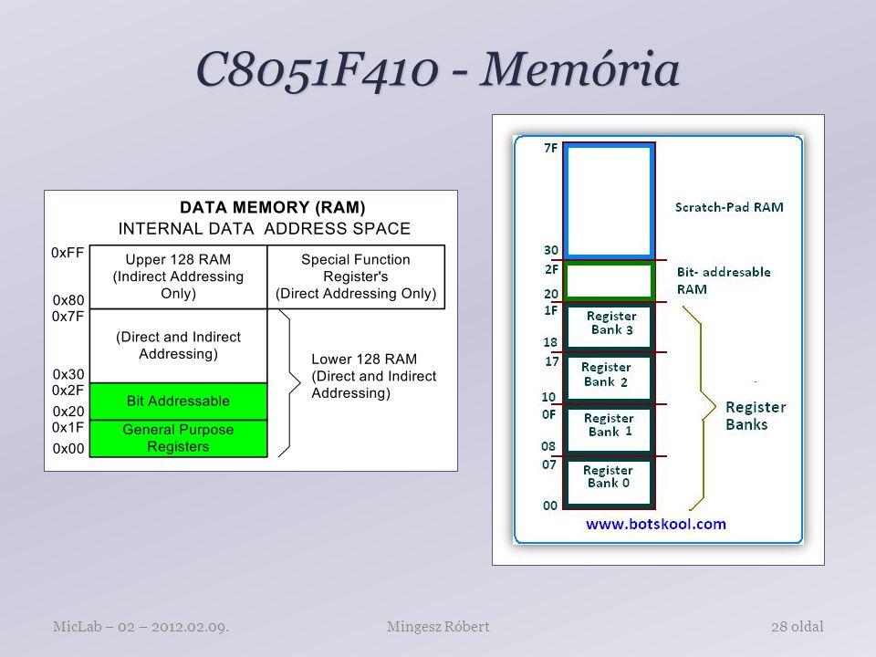 C8051F410 - Memória MicLab – 02 – 2012.02.09. Mingesz Róbert