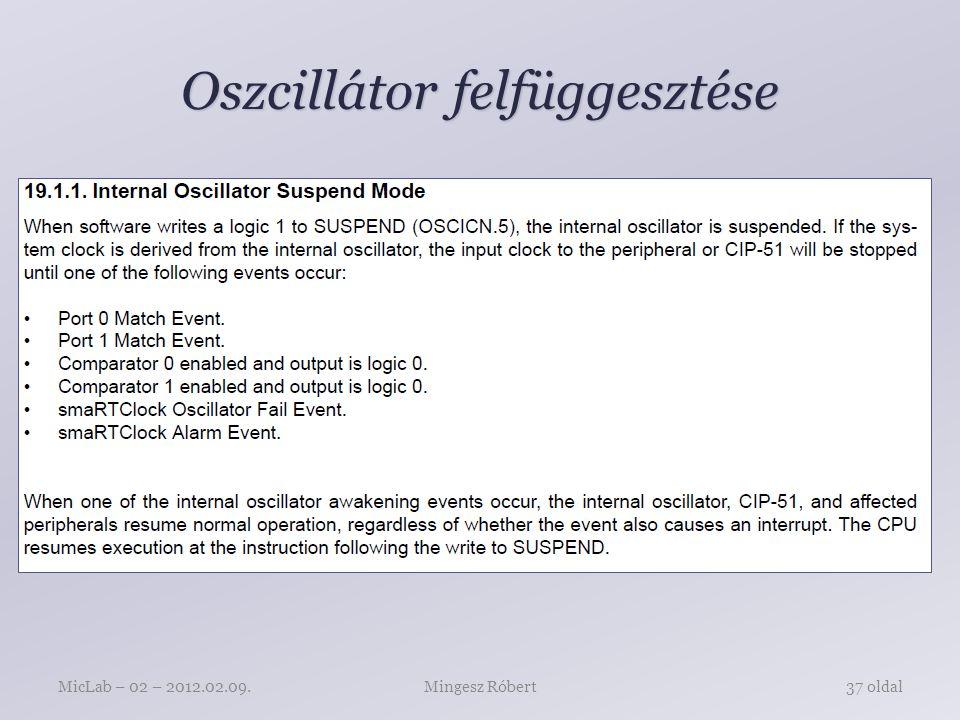 Oszcillátor felfüggesztése