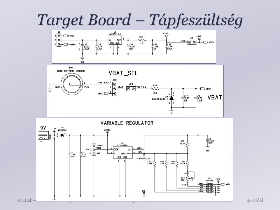 Target Board – Tápfeszültség