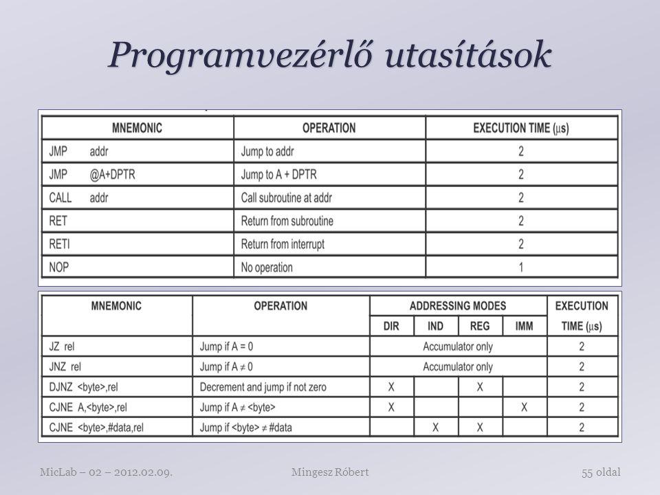 Programvezérlő utasítások