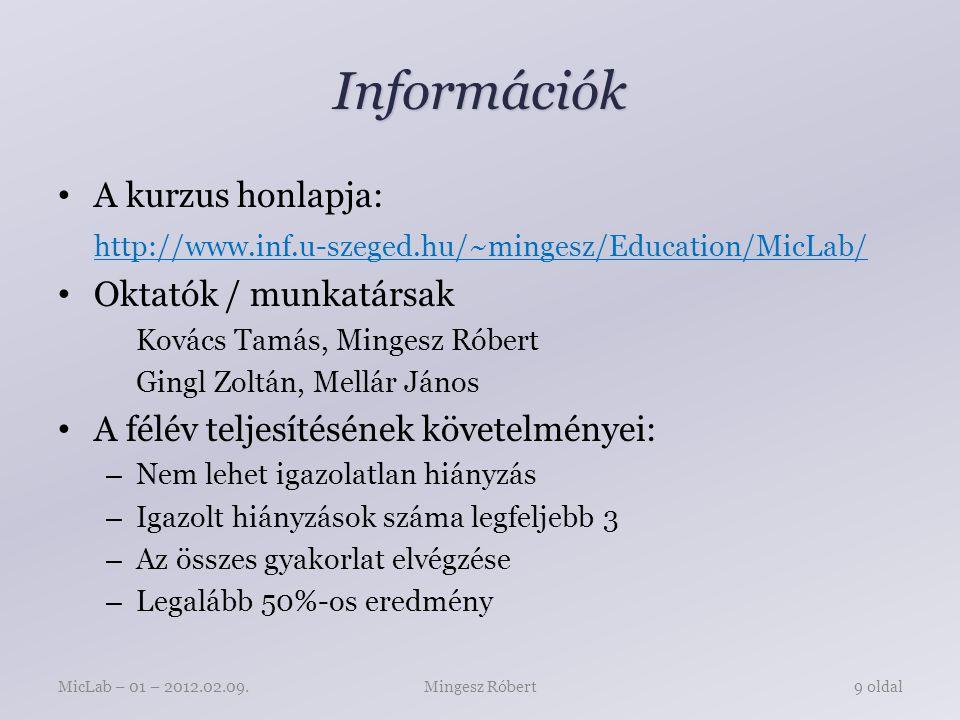Információk A kurzus honlapja: