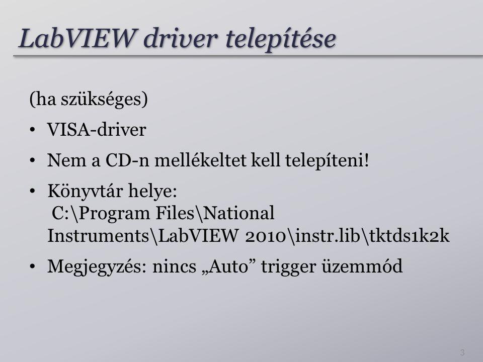 LabVIEW driver telepítése