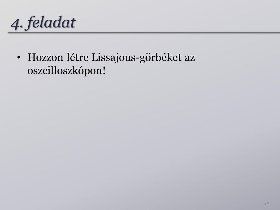 4. feladat Hozzon létre Lissajous-görbéket az oszcilloszkópon!