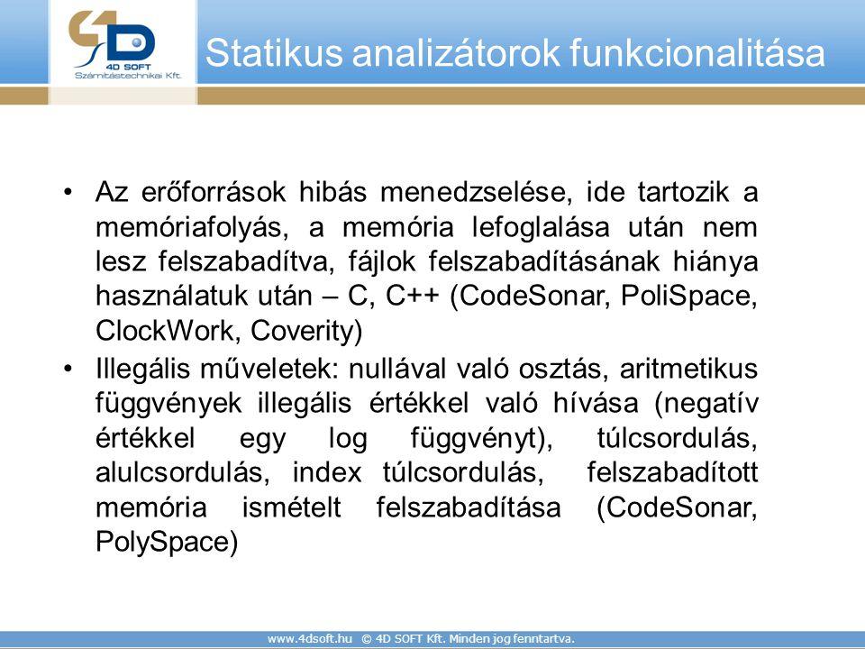 Statikus analizátorok funkcionalitása