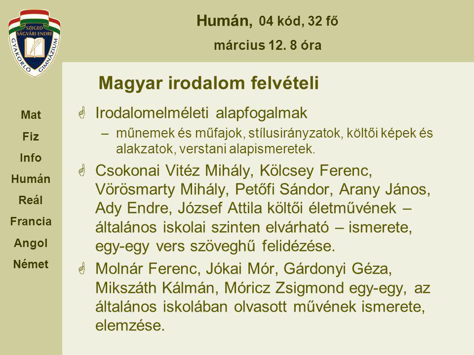 Magyar irodalom felvételi