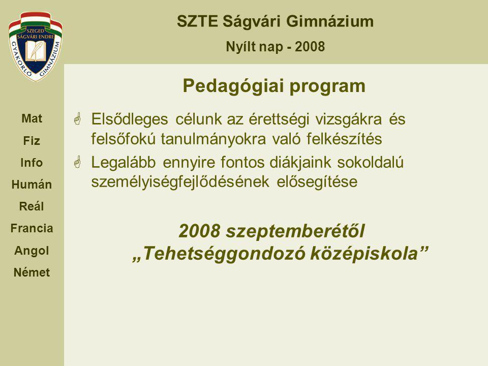 """2008 szeptemberétől """"Tehetséggondozó középiskola"""