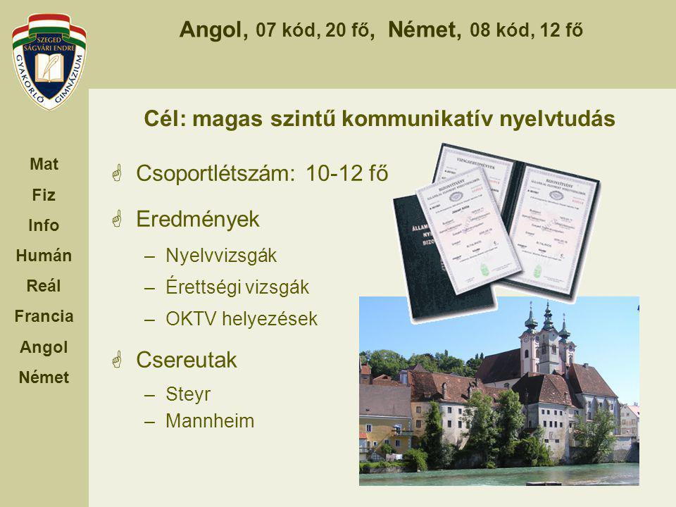 Cél: magas szintű kommunikatív nyelvtudás