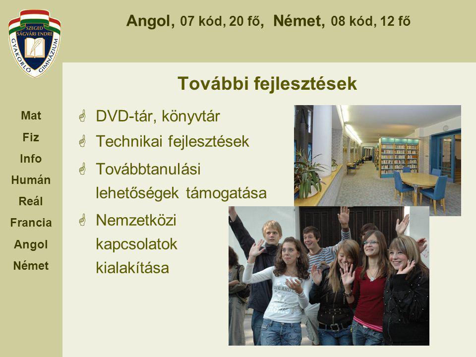 További fejlesztések DVD-tár, könyvtár Technikai fejlesztések