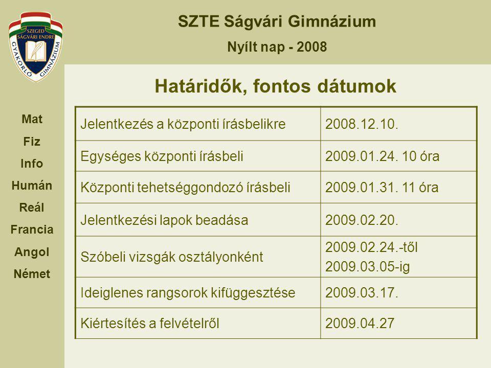 Határidők, fontos dátumok