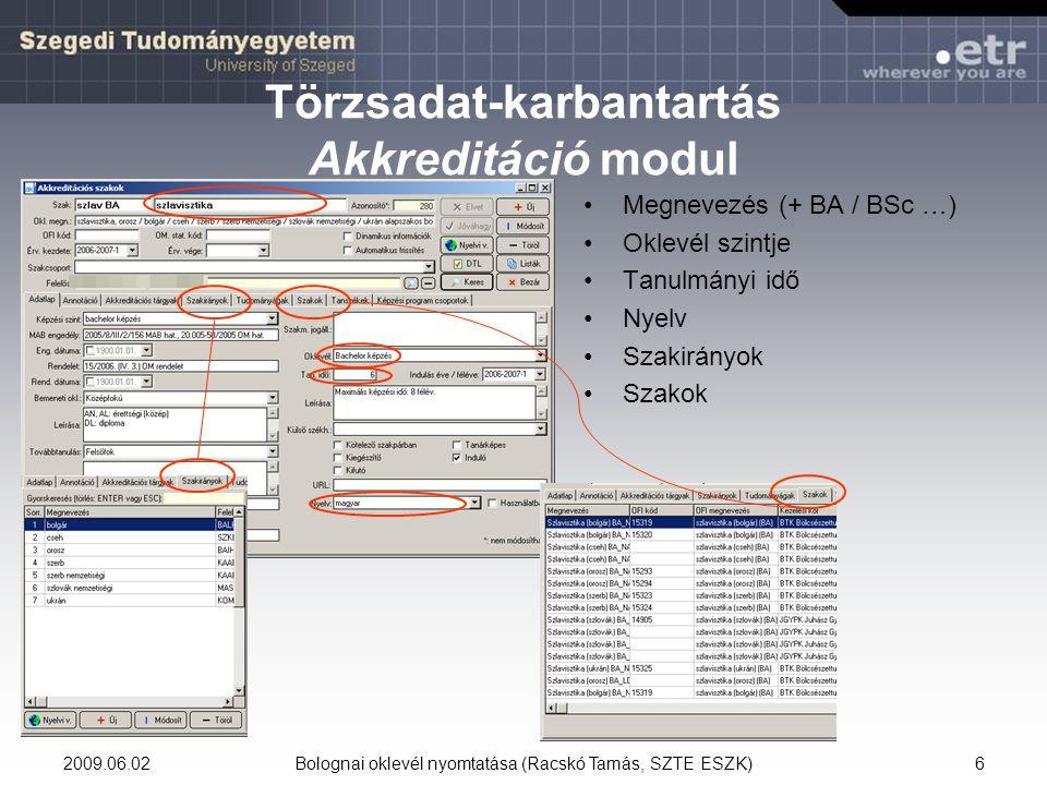 Törzsadat-karbantartás Akkreditáció modul