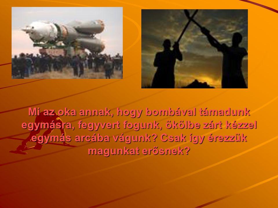 Mi az oka annak, hogy bombával támadunk egymásra, fegyvert fogunk, ökölbe zárt kézzel egymás arcába vágunk.