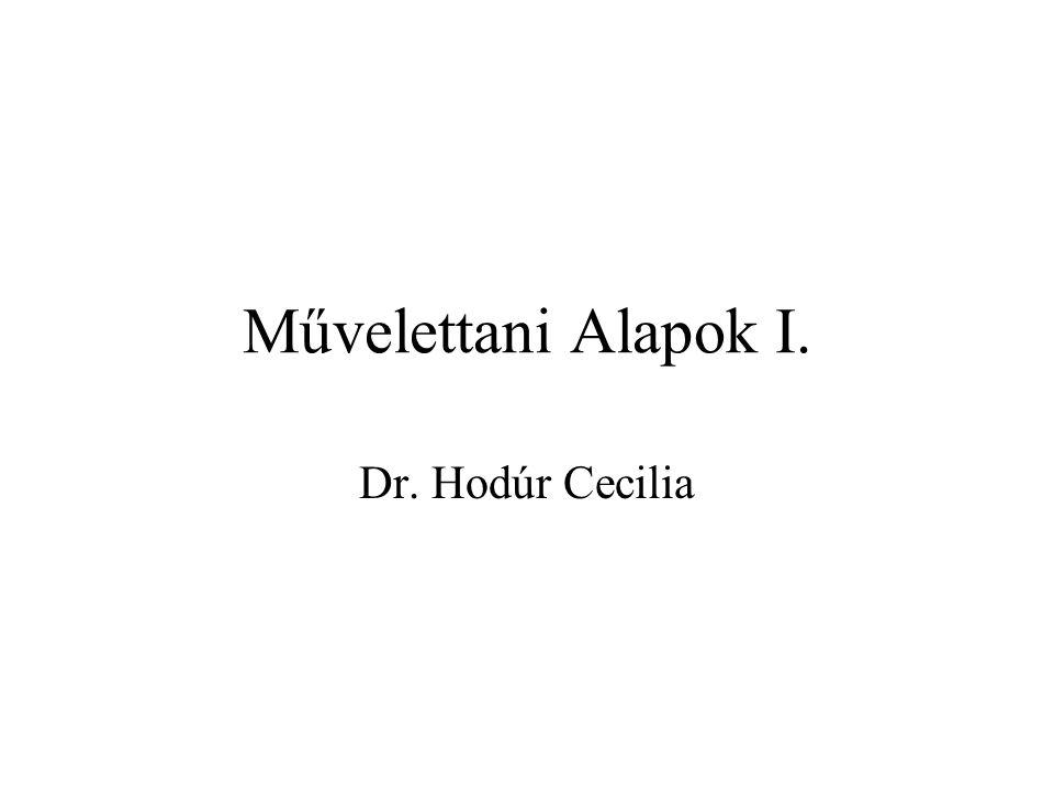 Művelettani Alapok I. Dr. Hodúr Cecilia