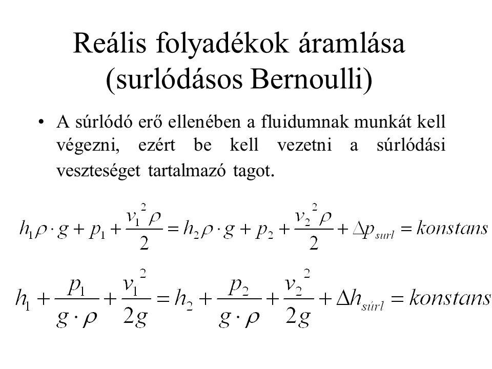 Reális folyadékok áramlása (surlódásos Bernoulli)