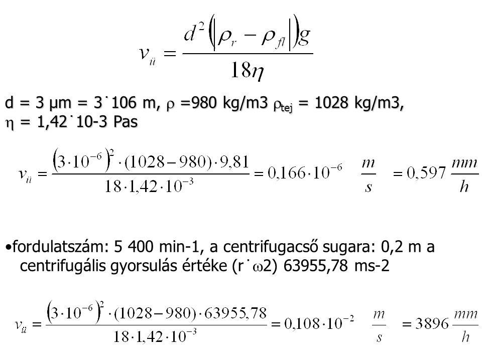 d = 3 µm = 3˙106 m,  =980 kg/m3 tej = 1028 kg/m3,  = 1,42˙10-3 Pas