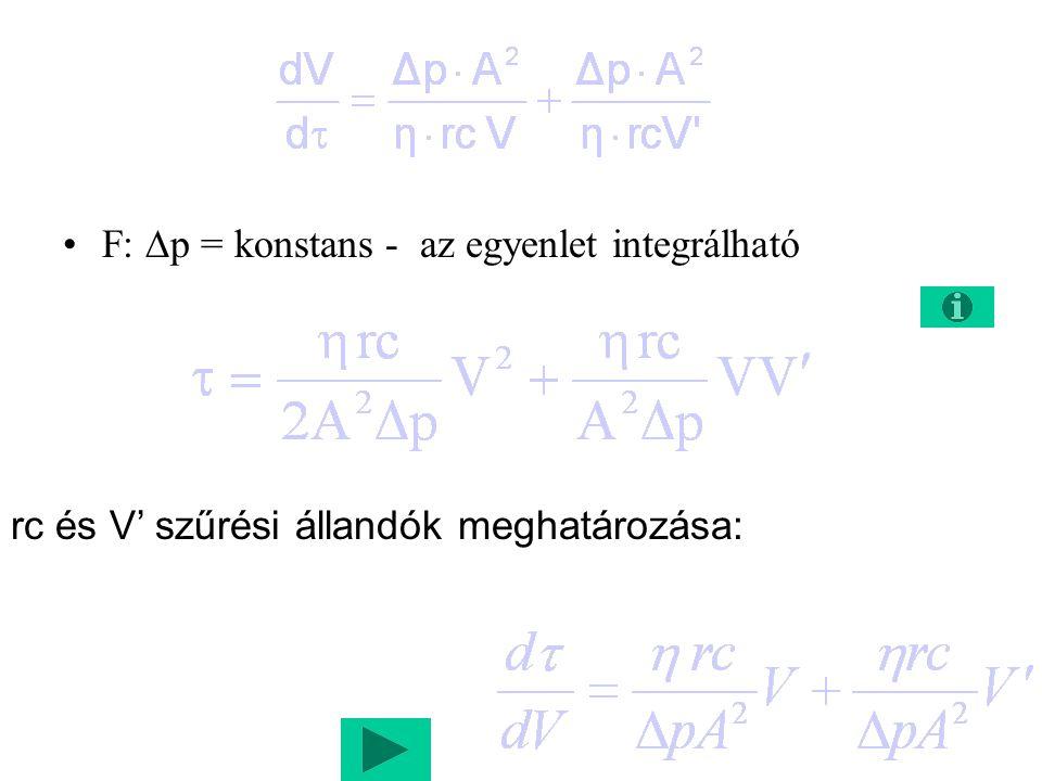 F: p = konstans - az egyenlet integrálható
