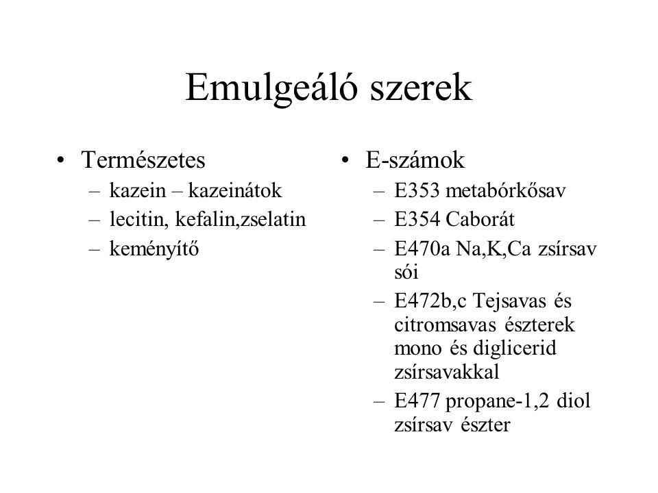 Emulgeáló szerek Természetes E-számok kazein – kazeinátok
