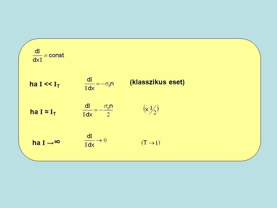 (klasszikus eset) ha I << IT ha I ≈ IT ha I →∞