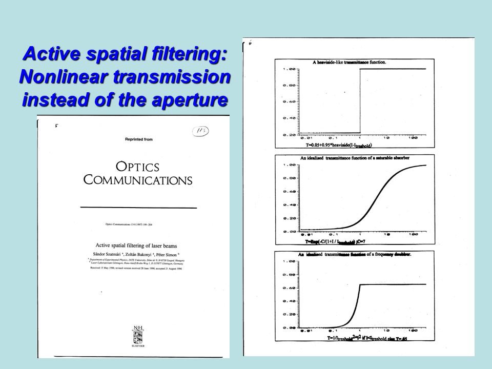 Active spatial filtering: Nonlinear transmission instead of the aperture