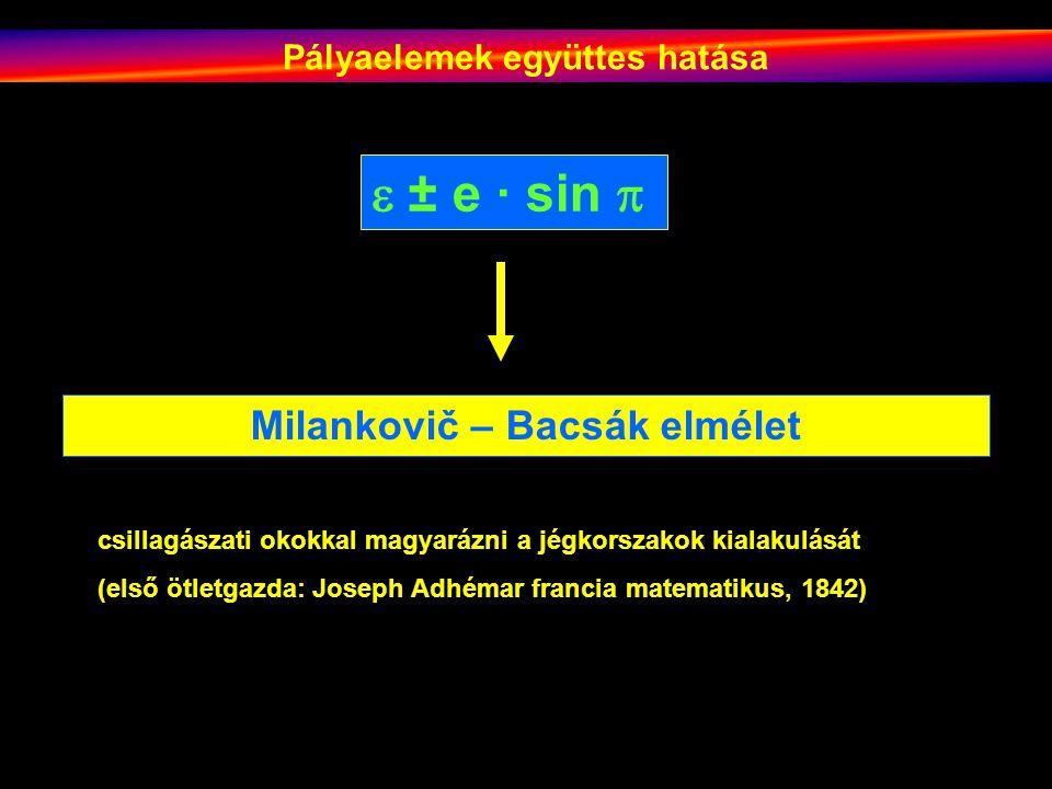 Pályaelemek együttes hatása Milankovič – Bacsák elmélet