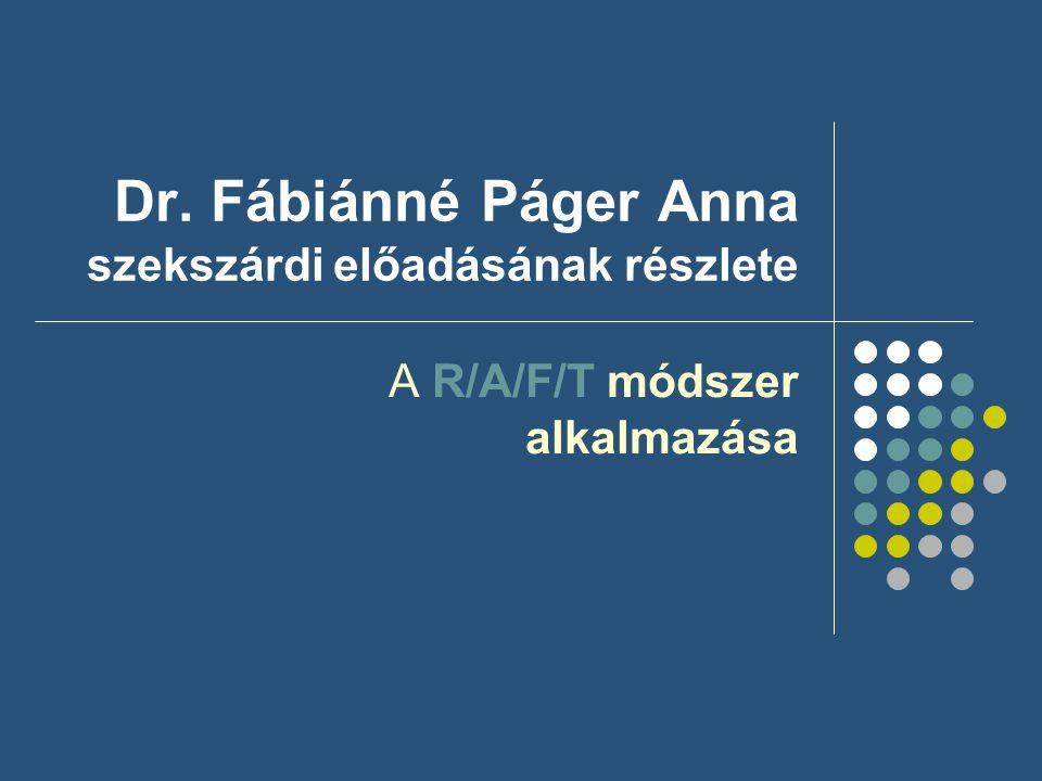 Dr. Fábiánné Páger Anna szekszárdi előadásának részlete