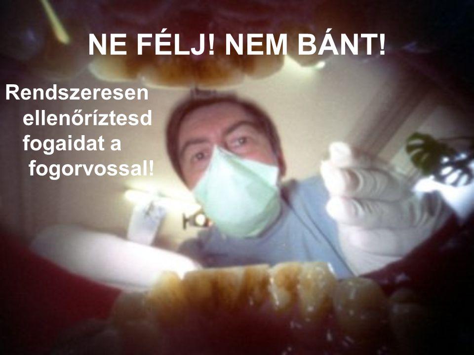 NE FÉLJ! NEM BÁNT! Rendszeresen ellenőríztesd fogaidat a fogorvossal!