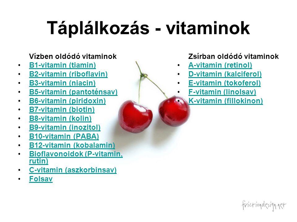 Táplálkozás - vitaminok
