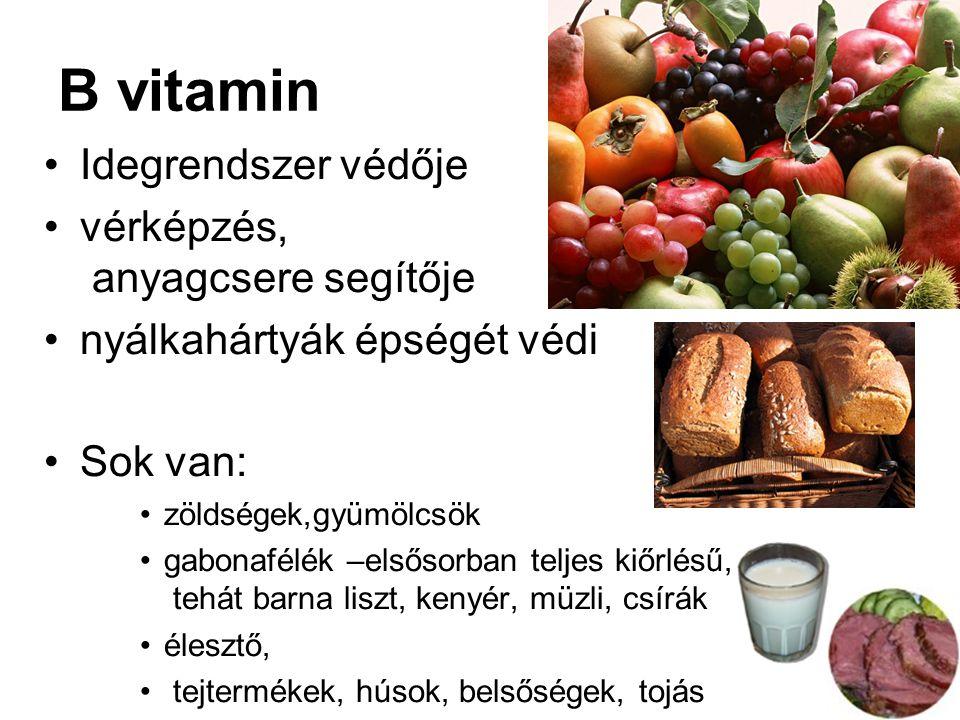 B vitamin Idegrendszer védője vérképzés, anyagcsere segítője