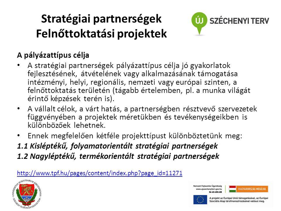 Stratégiai partnerségek Felnőttoktatási projektek